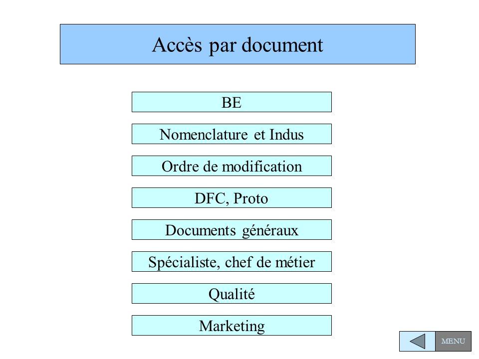 Accès par document Nomenclature et Indus Ordre de modification DFC, Proto BE Spécialiste, chef de métier Marketing Documents généraux Qualité MENU