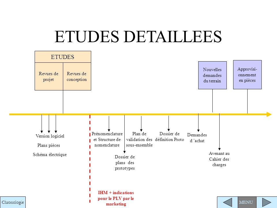 Nomenclature et Indus Ordre de fabrication Demande de création de code 99 Listing visserie et consommables MENU Nomenclature retour