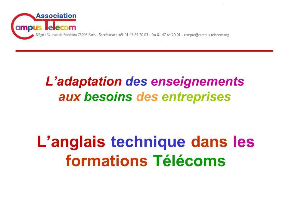_____________________________ Ladaptation des enseignements aux besoins des entreprises Langlais technique dans les formations Télécoms
