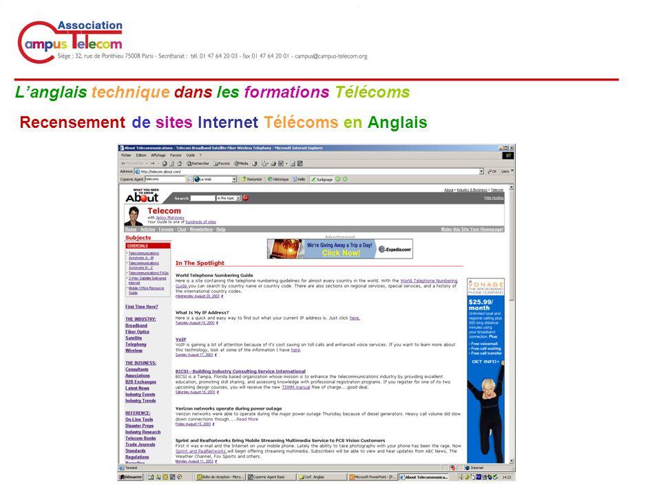 __________________________________________ Langlais technique dans les formations Télécoms Recensement de sites Internet Télécoms en Anglais