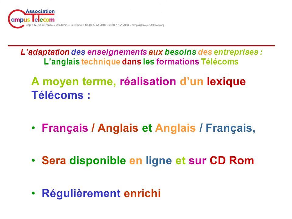 __________________________________________ Ladaptation des enseignements aux besoins des entreprises : Langlais technique dans les formations Télécoms A moyen terme, réalisation dun lexique Télécoms : Français / Anglais et Anglais / Français, Sera disponible en ligne et sur CD Rom Régulièrement enrichi