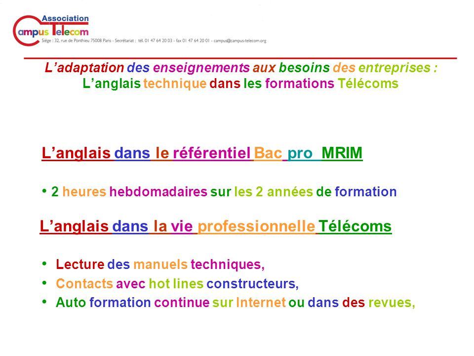 _________________________________________________ Ladaptation des enseignements aux besoins des entreprises : Langlais technique dans les formations Télécoms Langlais dans le référentiel Bac pro MRIM 2 heures hebdomadaires sur les 2 années de formation Langlais dans la vie professionnelle Télécoms Lecture des manuels techniques, Contacts avec hot lines constructeurs, Auto formation continue sur Internet ou dans des revues,