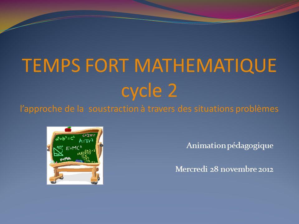 TEMPS FORT MATHEMATIQUE cycle 2 lapproche de la soustraction à travers des situations problèmes Animation pédagogique Mercredi 28 novembre 2012