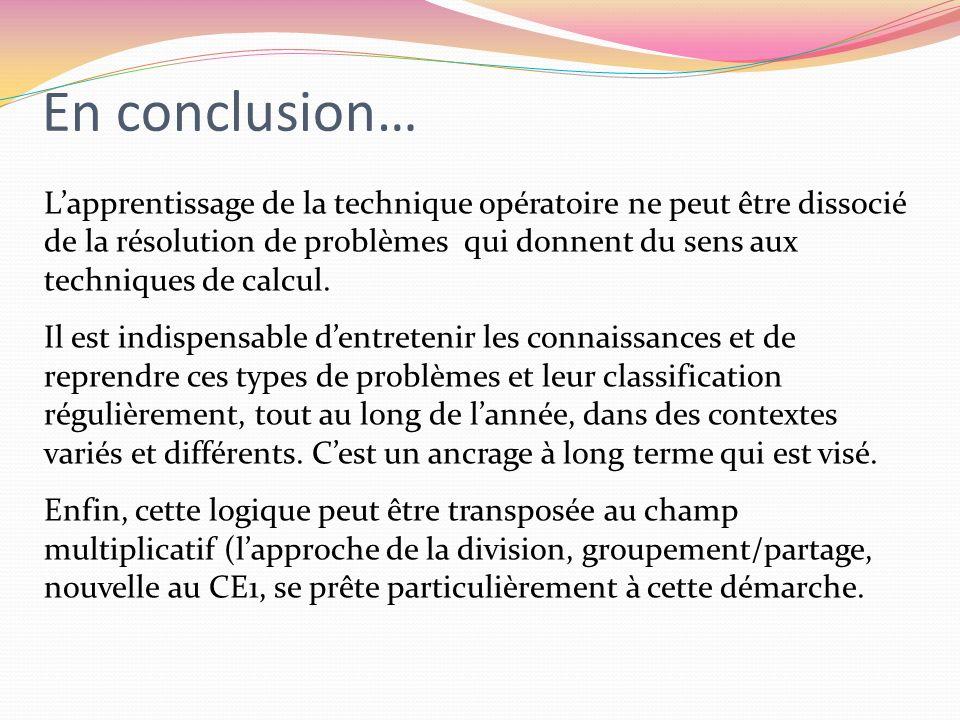 En conclusion… Lapprentissage de la technique opératoire ne peut être dissocié de la résolution de problèmes qui donnent du sens aux techniques de cal