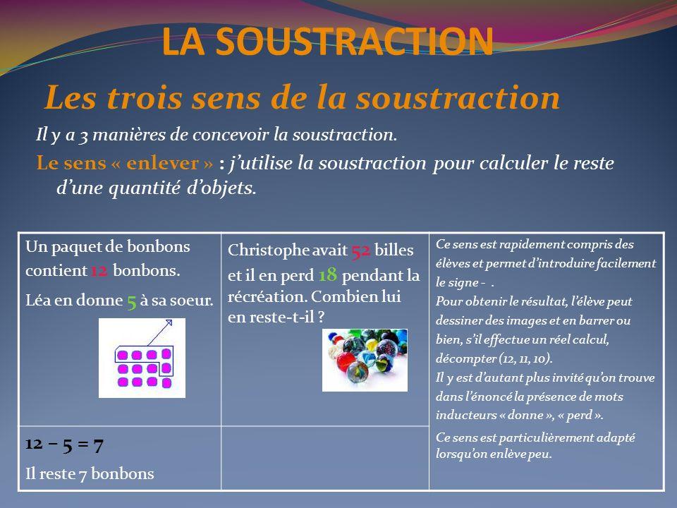 LA SOUSTRACTION Les trois sens de la soustraction Il y a 3 manières de concevoir la soustraction. Le sens « enlever » : jutilise la soustraction pour