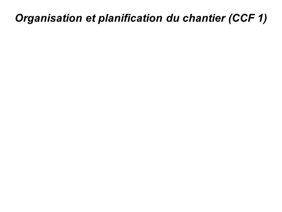 Organisation et planification du chantier (CCF 1)