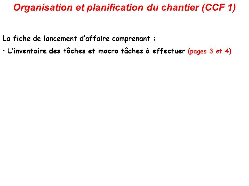 Organisation et planification du chantier (CCF 1) La fiche de lancement daffaire comprenant : Linventaire des tâches et macro tâches à effectuer (pages 3 et 4)