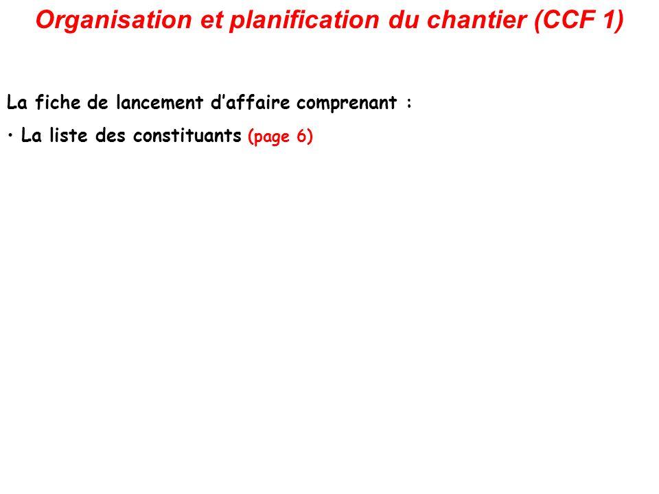 Organisation et planification du chantier (CCF 1) La fiche de lancement daffaire comprenant : La liste des constituants (page 6)