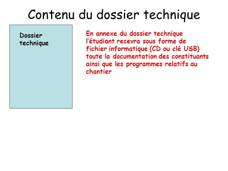Contenu du dossier technique Dossier technique En annexe du dossier technique létudiant recevra sous forme de fichier informatique (CD ou clé USB) toute la documentation des constituants ainsi que les programmes relatifs au chantier