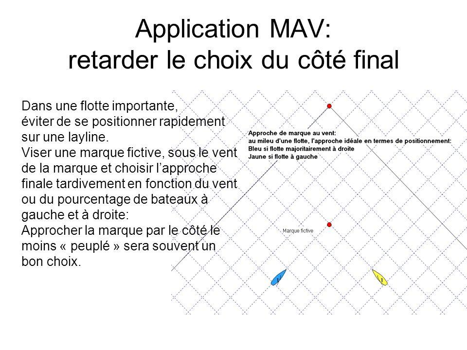 Application MAV: retarder le choix du côté final Dans une flotte importante, éviter de se positionner rapidement sur une layline. Viser une marque fic