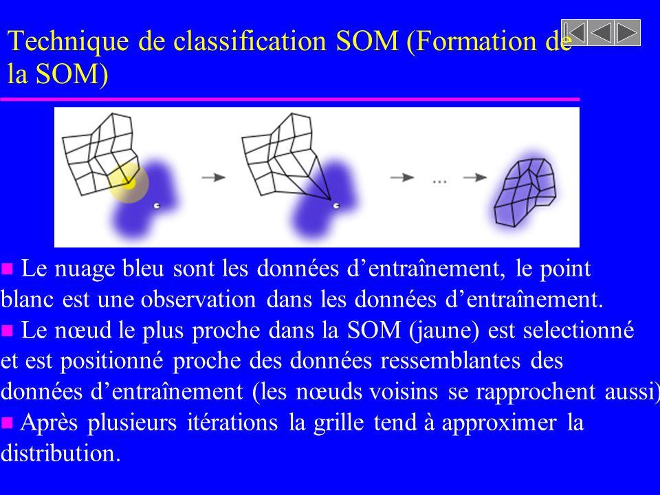 Technique de classification SOM (Formation de la SOM) Le nuage bleu sont les données dentraînement, le point blanc est une observation dans les donnée