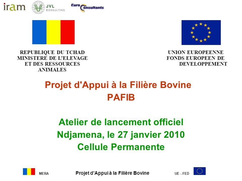 MERA Projet dAppui à la Filière Bovine UE - FED Projet d'Appui à la Filière Bovine PAFIB Atelier de lancement officiel Ndjamena, le 27 janvier 2010 Ce