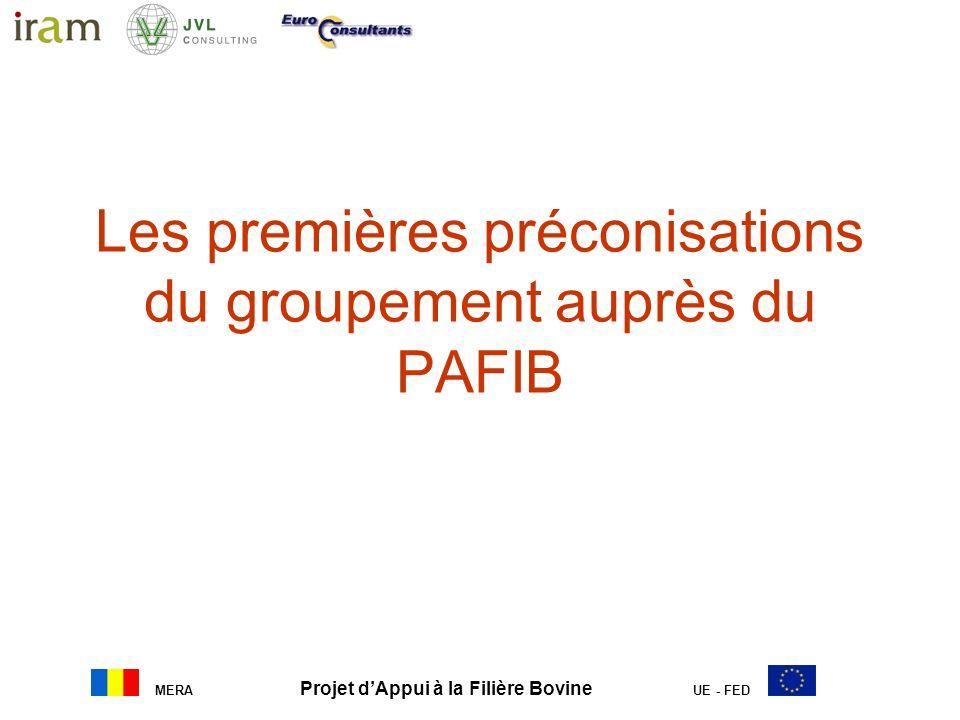 MERA Projet dAppui à la Filière Bovine UE - FED Les premières préconisations du groupement auprès du PAFIB
