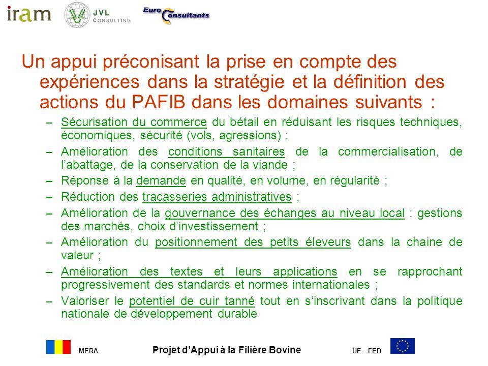 MERA Projet dAppui à la Filière Bovine UE - FED Un appui préconisant la prise en compte des expériences dans la stratégie et la définition des actions