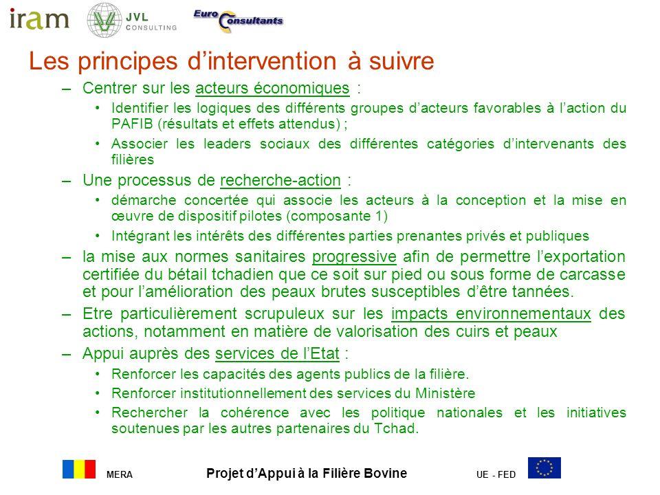 MERA Projet dAppui à la Filière Bovine UE - FED Les principes dintervention à suivre –Centrer sur les acteurs économiques : Identifier les logiques de