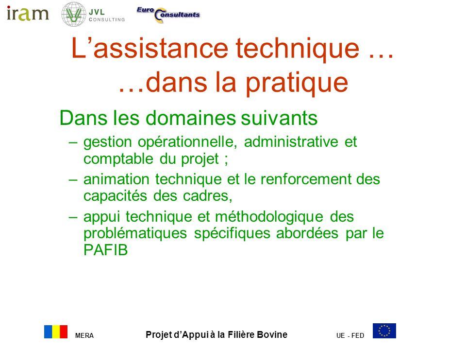 MERA Projet dAppui à la Filière Bovine UE - FED Lassistance technique … …dans la pratique Dans les domaines suivants –gestion opérationnelle, administ