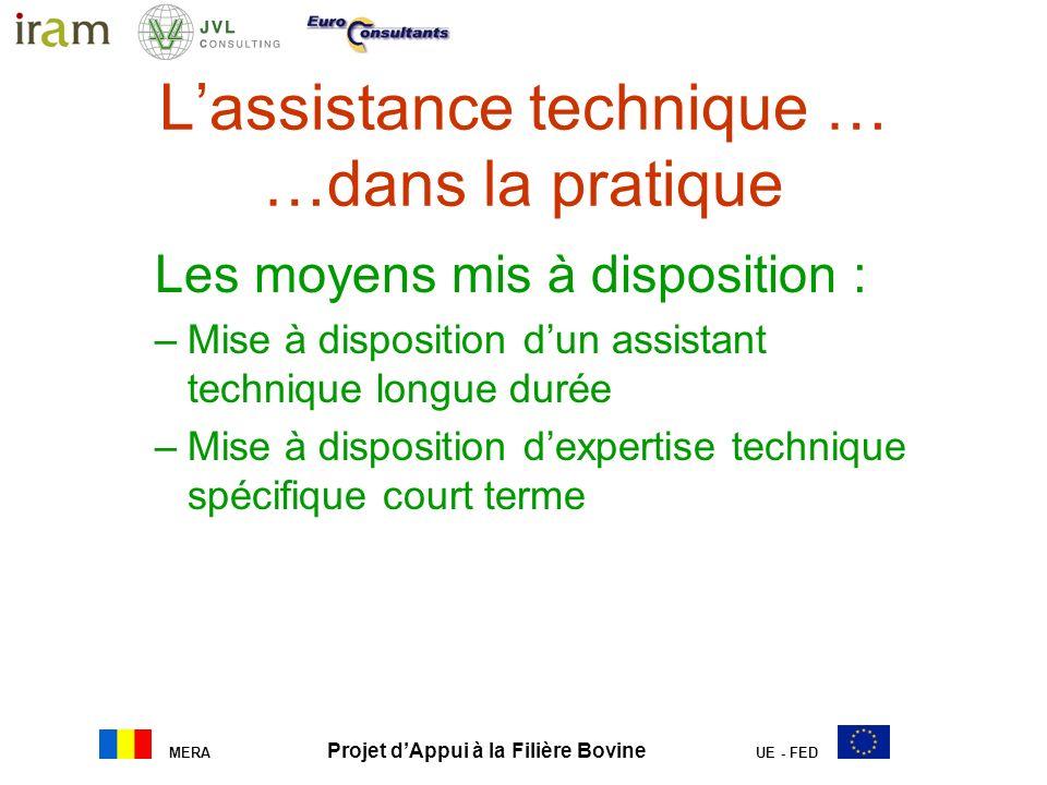 MERA Projet dAppui à la Filière Bovine UE - FED Lassistance technique … …dans la pratique Les moyens mis à disposition : –Mise à disposition dun assis
