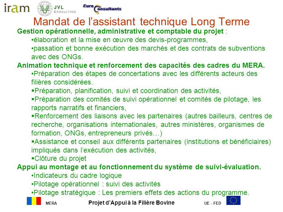 MERA Projet dAppui à la Filière Bovine UE - FED Mandat de lassistant technique Long Terme a. Gestion opérationnelle, administrative et comptable du pr