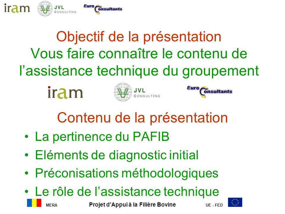 MERA Projet dAppui à la Filière Bovine UE - FED Objectif de la présentation Vous faire connaître le contenu de lassistance technique du groupement Con