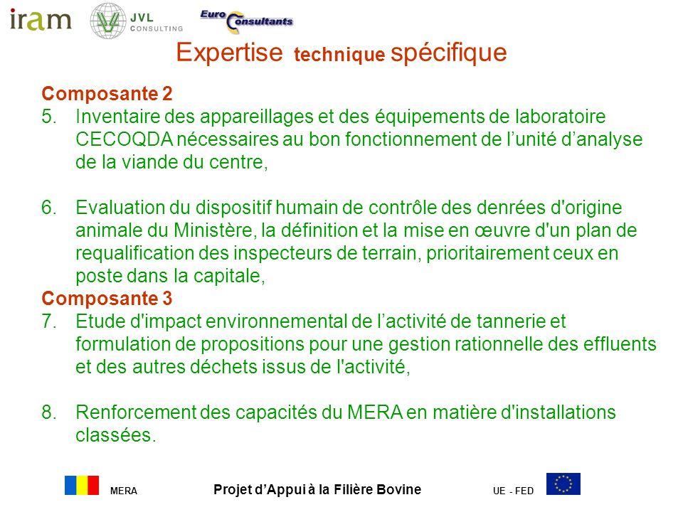 MERA Projet dAppui à la Filière Bovine UE - FED Expertise technique spécifique a. Gestion opérationnelle, administrative et comptable du projet : Appu
