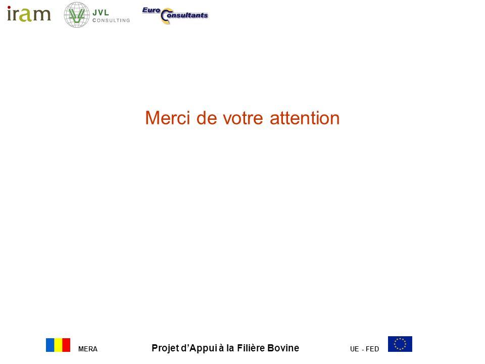 MERA Projet dAppui à la Filière Bovine UE - FED Merci de votre attention a. Gestion opérationnelle, administrative et comptable du projet : Appui à la