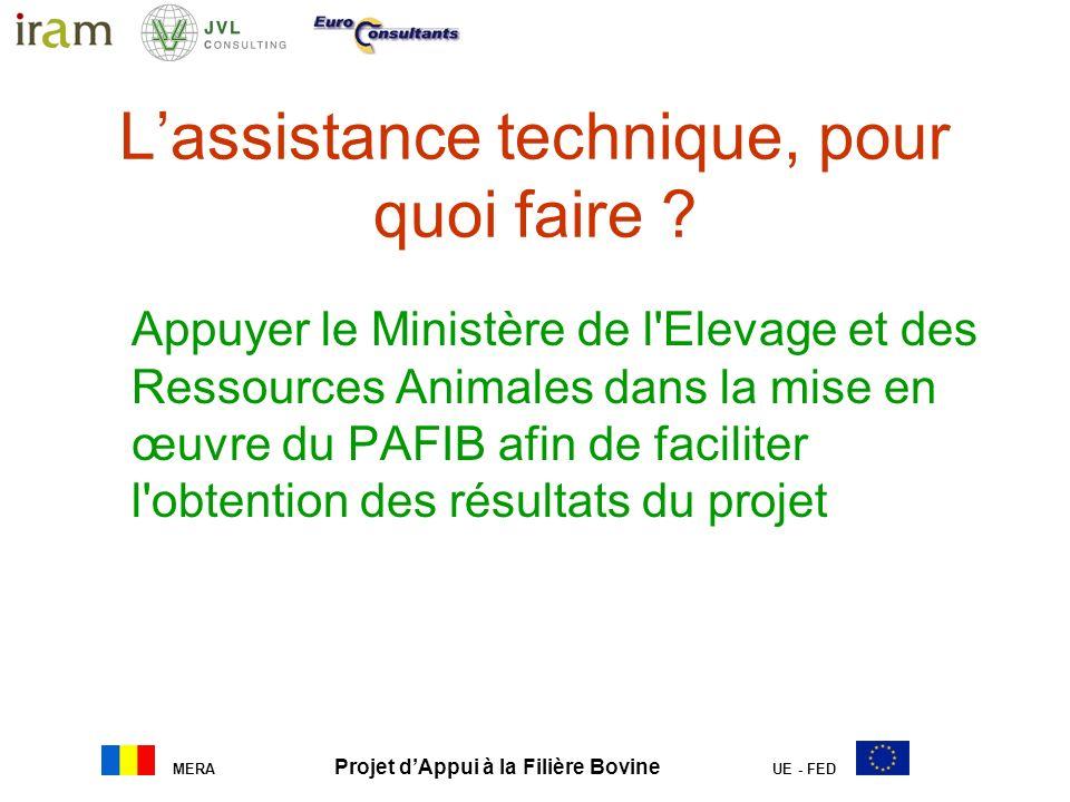 MERA Projet dAppui à la Filière Bovine UE - FED Lassistance technique … …dans la pratique Appuyer le Ministère de l Elevage et des Ressources Animales dans la mise en œuvre du PAFIB afin de faciliter l obtention des résultats du projet