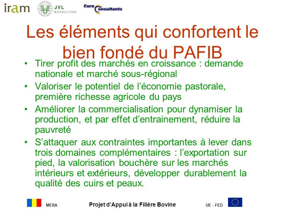 MERA Projet dAppui à la Filière Bovine UE - FED Les éléments qui confortent le bien fondé du PAFIB Tirer profit des marchés en croissance : demande na