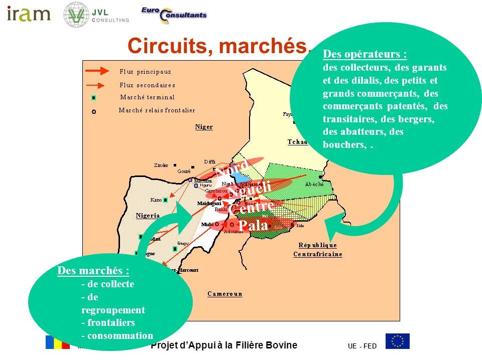 MERA Projet dAppui à la Filière Bovine UE - FED Origine des approvisionnements sur les marchés nigerians et destination des animaux Origine des animaux –Animaux tchadiens et nigérians en majorité sur tous les marchés –Niger : circuits ouest Cameroun: circuits est –570 000 à 800 000 animaux tchadiens abattus annuellement à Lagos, Ibadan et Port-Harcourt Destination des animaux vendus sur les marchés nigerians –60% abattage –40% pour élevage et régulation de loffre –40 000 têtes par an à Lagos pour les industries agroalimentaires Origine des approvisionnements à dire dacteurs