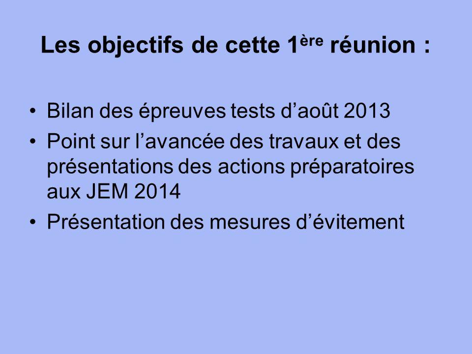 Les objectifs de cette 1 ère réunion : Bilan des épreuves tests daoût 2013 Point sur lavancée des travaux et des présentations des actions préparatoires aux JEM 2014 Présentation des mesures dévitement