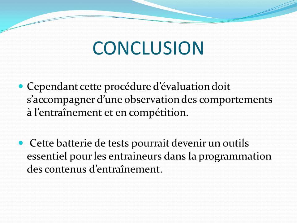 CONCLUSION Cependant cette procédure dévaluation doit saccompagner dune observation des comportements à lentraînement et en compétition. Cette batteri