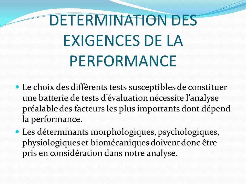 DETERMINATION DES EXIGENCES DE LA PERFORMANCE Le choix des différents tests susceptibles de constituer une batterie de tests dévaluation nécessite lan