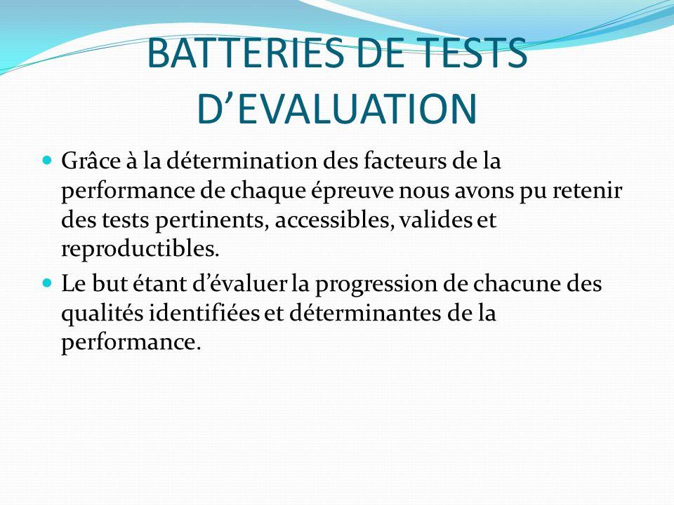 BATTERIES DE TESTS DEVALUATION Grâce à la détermination des facteurs de la performance de chaque épreuve nous avons pu retenir des tests pertinents, a