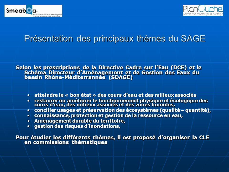 Présentation des principaux thèmes du SAGE Selon les prescriptions de la Directive Cadre sur lEau (DCE) et le Schéma Directeur dAménagement et de Gest