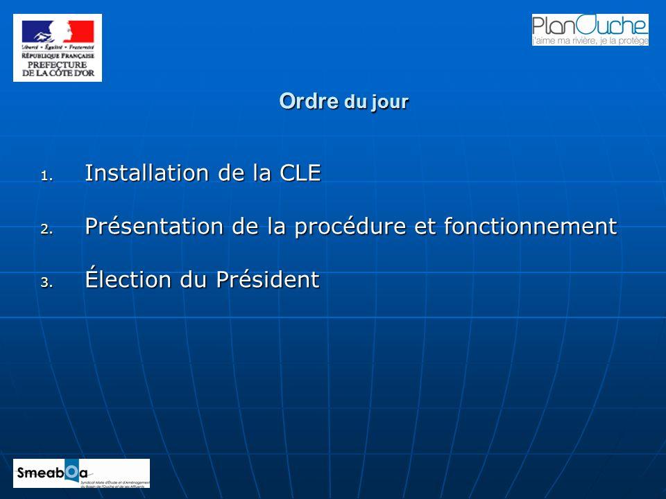 1. Installation de la CLE 2. Présentation de la procédure et fonctionnement 3. Élection du Président Ordre du jour
