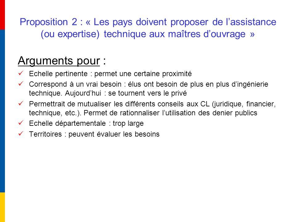 Proposition 2 : « Les pays doivent proposer de lassistance (ou expertise) technique aux maîtres douvrage » Arguments pour : Echelle pertinente : perme