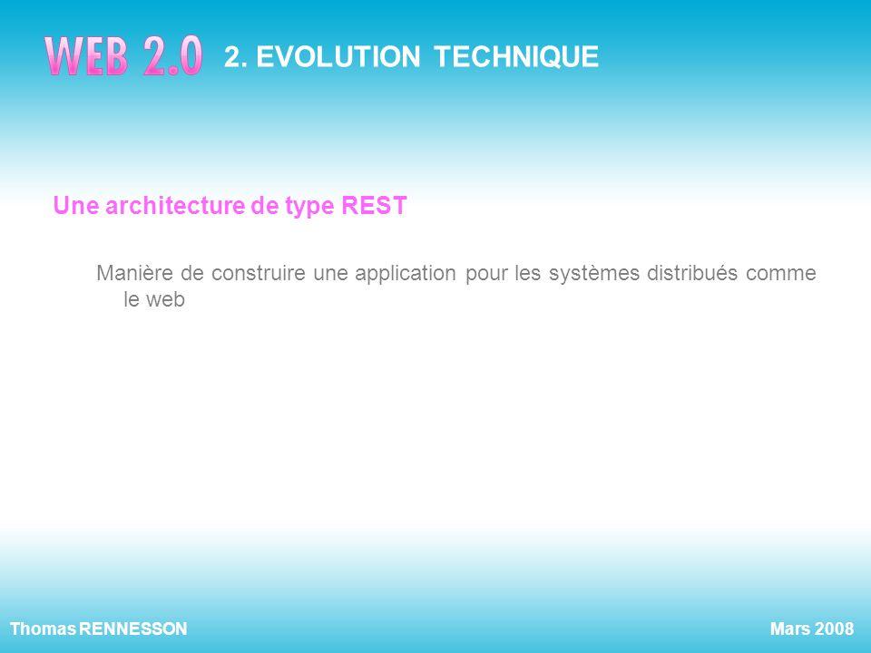 Mars 2008Thomas RENNESSON 2. EVOLUTION TECHNIQUE Une architecture de type REST Manière de construire une application pour les systèmes distribués comm