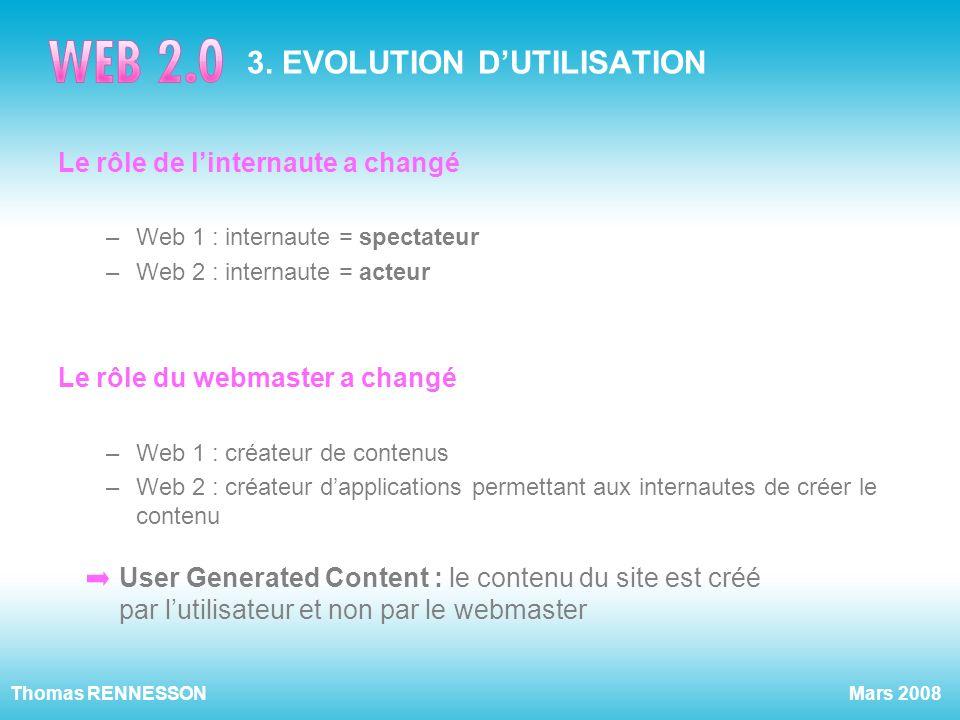 Mars 2008Thomas RENNESSON 3. EVOLUTION DUTILISATION Le rôle de linternaute a changé –Web 1 : internaute = spectateur –Web 2 : internaute = acteur Le r