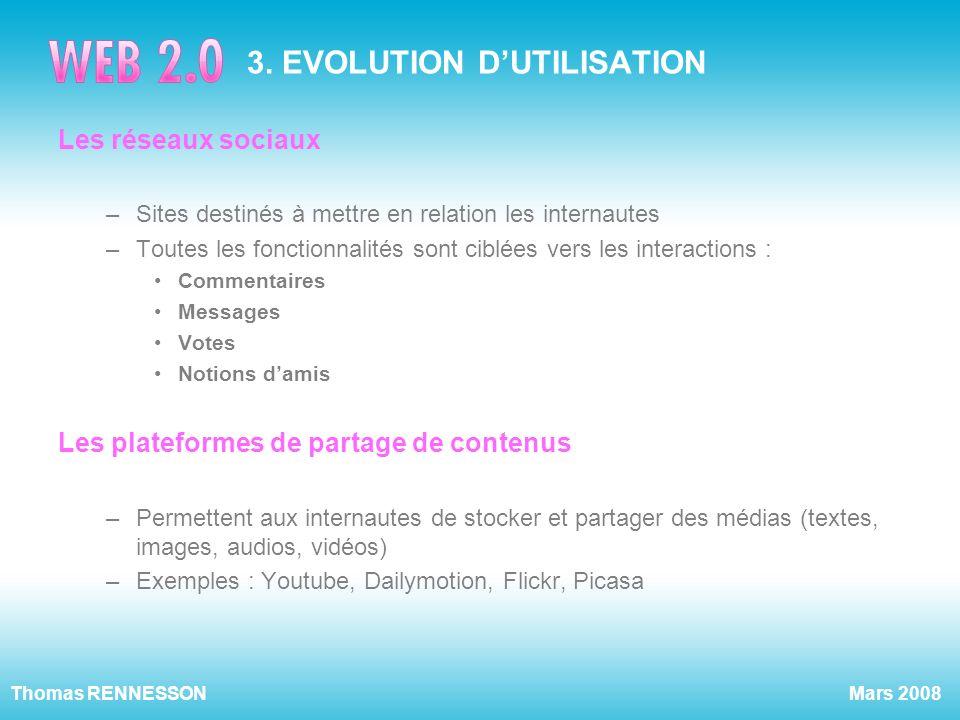 Mars 2008Thomas RENNESSON 3. EVOLUTION DUTILISATION Les réseaux sociaux –Sites destinés à mettre en relation les internautes –Toutes les fonctionnalit