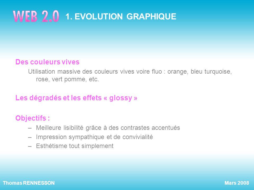 Mars 2008Thomas RENNESSON 1. EVOLUTION GRAPHIQUE Des couleurs vives Utilisation massive des couleurs vives voire fluo : orange, bleu turquoise, rose,