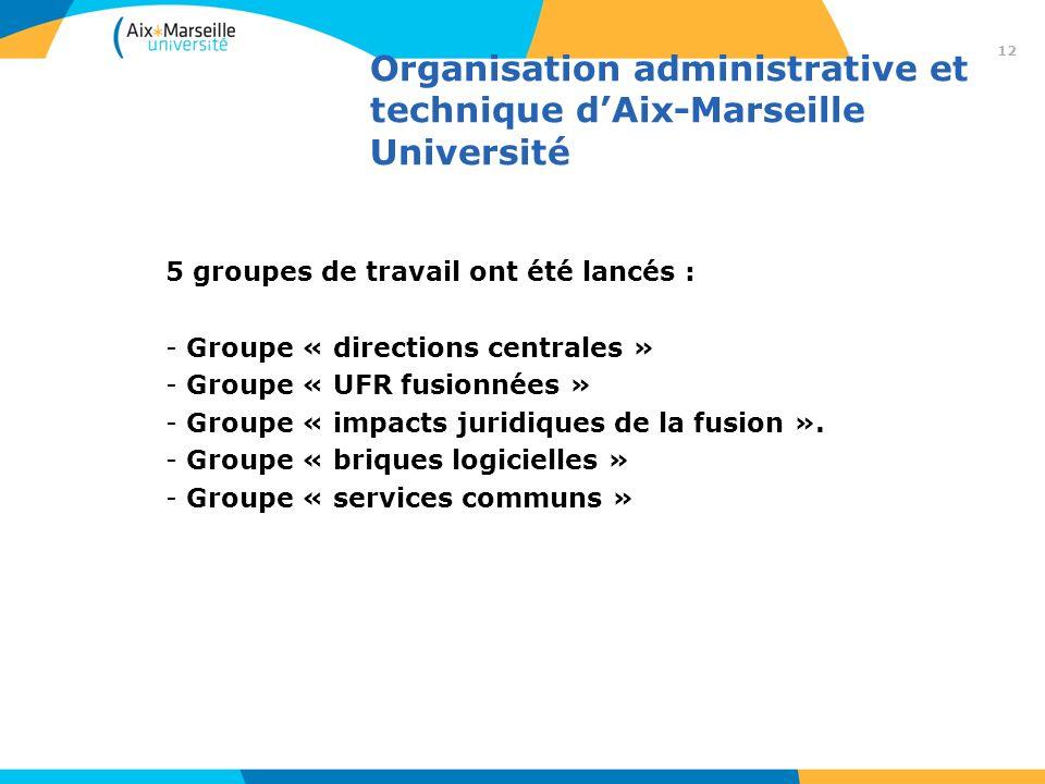 Organisation administrative et technique dAix-Marseille Université 5 groupes de travail ont été lancés : - Groupe « directions centrales » - Groupe «