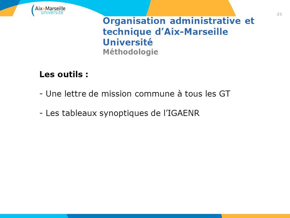 Organisation administrative et technique dAix-Marseille Université Méthodologie Les outils : - Une lettre de mission commune à tous les GT - Les table