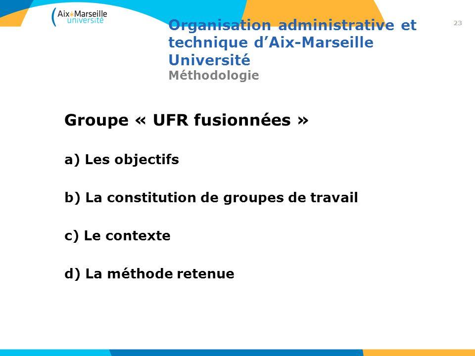 Organisation administrative et technique dAix-Marseille Université Méthodologie Groupe « UFR fusionnées » a) Les objectifs b) La constitution de group