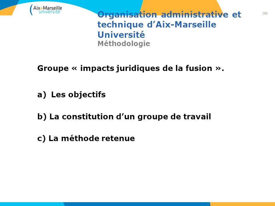 Organisation administrative et technique dAix-Marseille Université Méthodologie Groupe « impacts juridiques de la fusion ». a)Les objectifs b) La cons