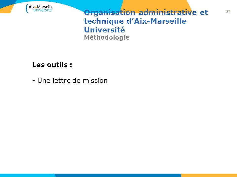 Organisation administrative et technique dAix-Marseille Université Méthodologie Les outils : - Une lettre de mission 34