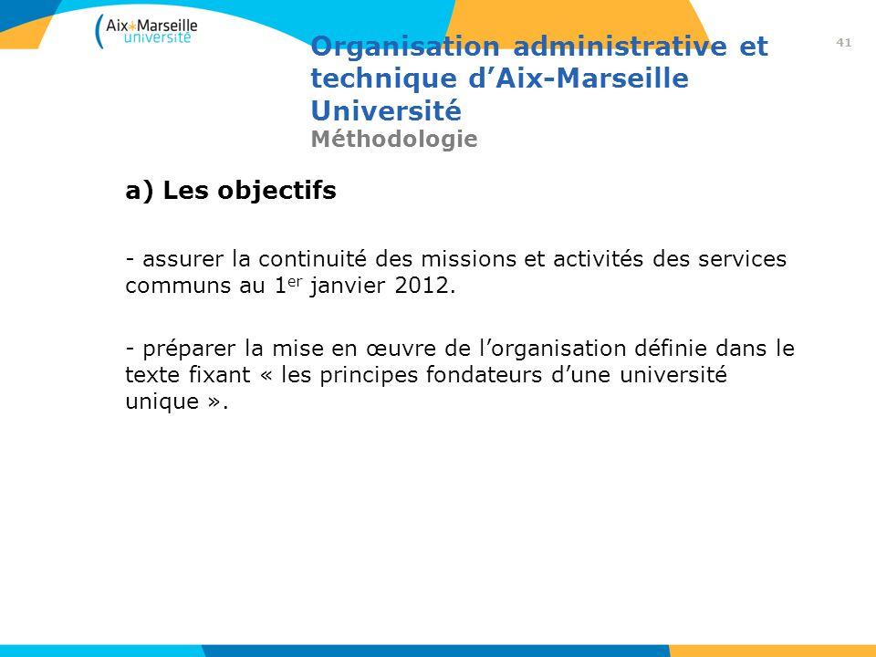 Organisation administrative et technique dAix-Marseille Université Méthodologie a) Les objectifs - assurer la continuité des missions et activités des