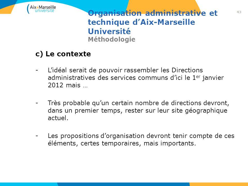 Organisation administrative et technique dAix-Marseille Université Méthodologie c) Le contexte -Lidéal serait de pouvoir rassembler les Directions adm