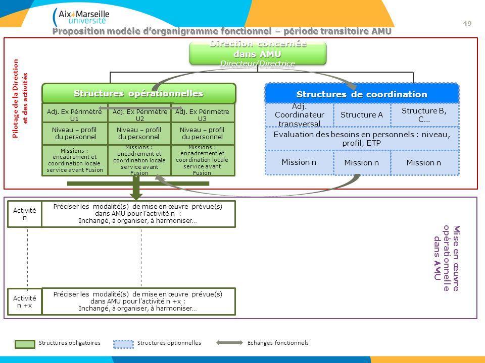 Proposition modèle dorganigramme fonctionnel – période transitoire AMU Structures obligatoiresStructures optionnelles Activité n Préciser les modalité