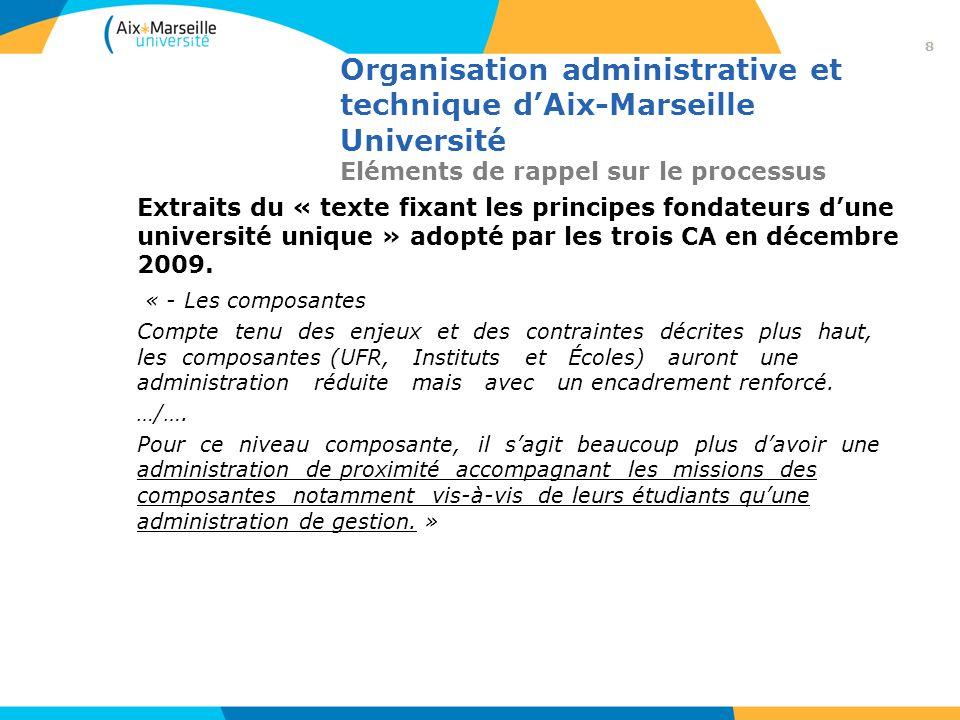 Organisation administrative et technique dAix-Marseille Université Eléments de rappel sur le processus Extraits du « texte fixant les principes fondat