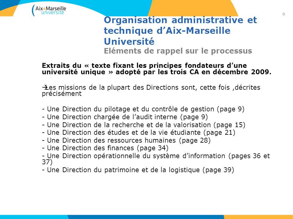 Organisation administrative et technique dAix-Marseille Université Eléments de rappel sur le processus c) Une mission confiée aux trois DGS par les Présidents dUniversité.