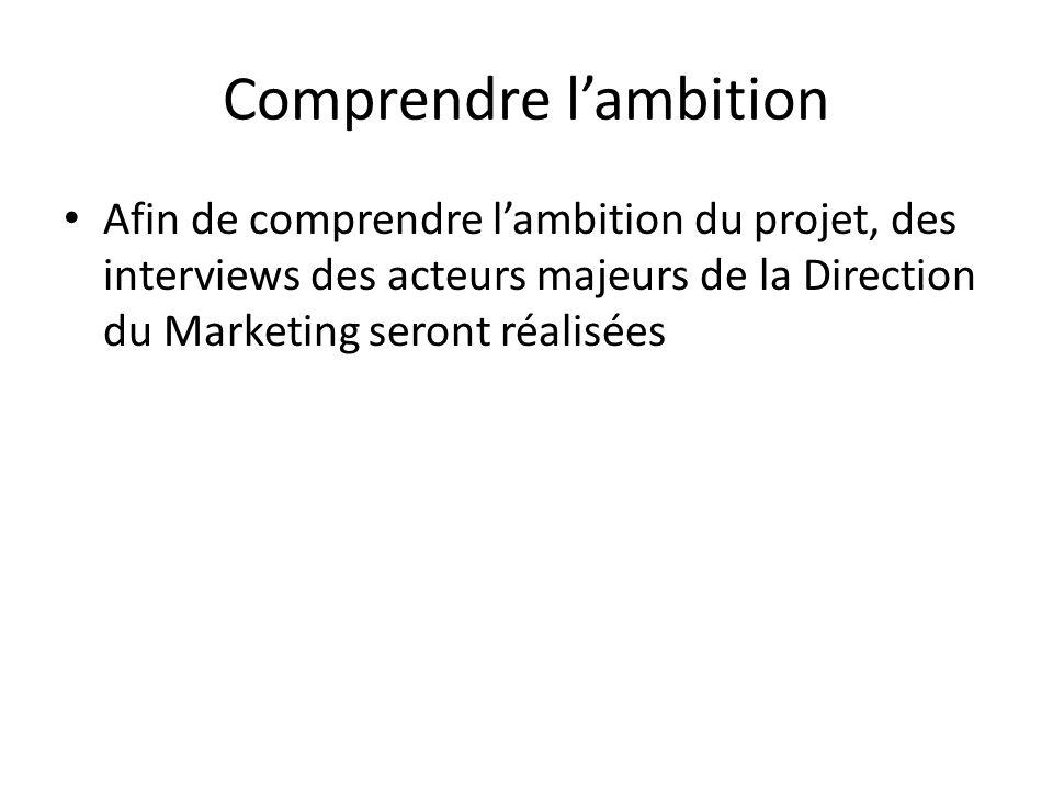 Comprendre lambition Afin de comprendre lambition du projet, des interviews des acteurs majeurs de la Direction du Marketing seront réalisées